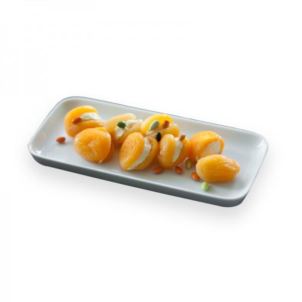 Aprikosen gefüllt mit Honig-Maracuja-Frischkäse in Pflanzenöl