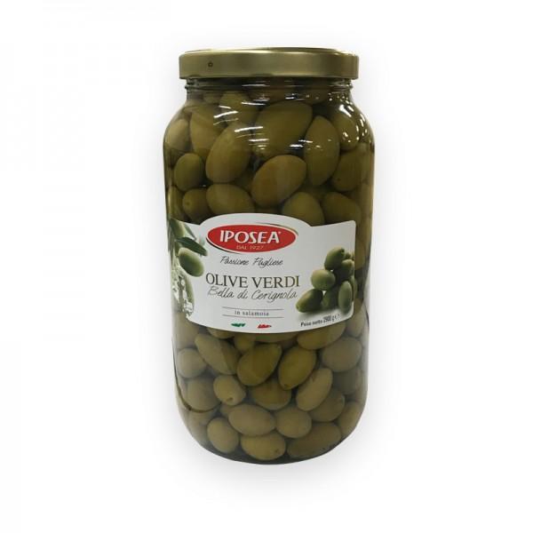 Oliven Grün mit Kern 3100ml Cerignola Glas