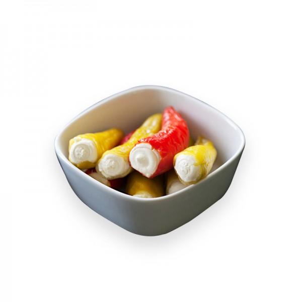 Peperoni MIX mild gefüllt mit Frischkäse in Kräuteröl
