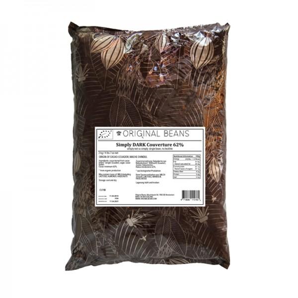 "Kuvertüre ""Simply Dark"" 62%, Original Beans"