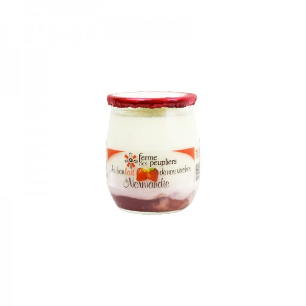 Joghurt auf Erdbeere
